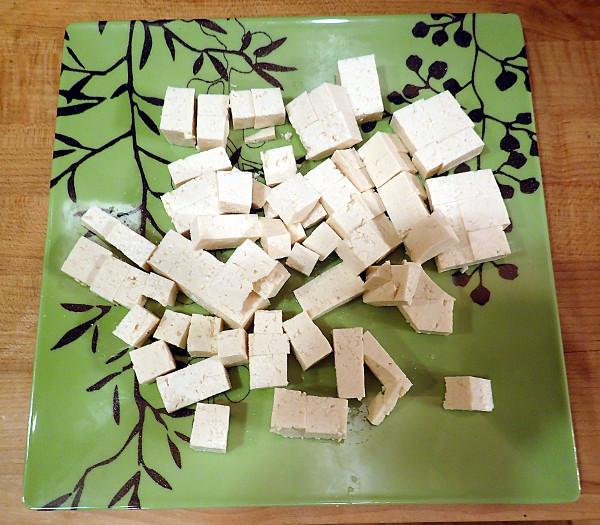 Cut tofu into 1/2-inch cubes