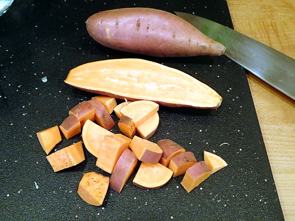 Cut sweet potato into dice